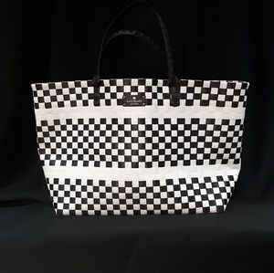 Kate Spade woven tote, black and white checkered